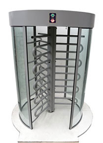 ManTraps and Gunstop TURNSTILES external curved glass, this entry and exit control works with identification systems such as card readers